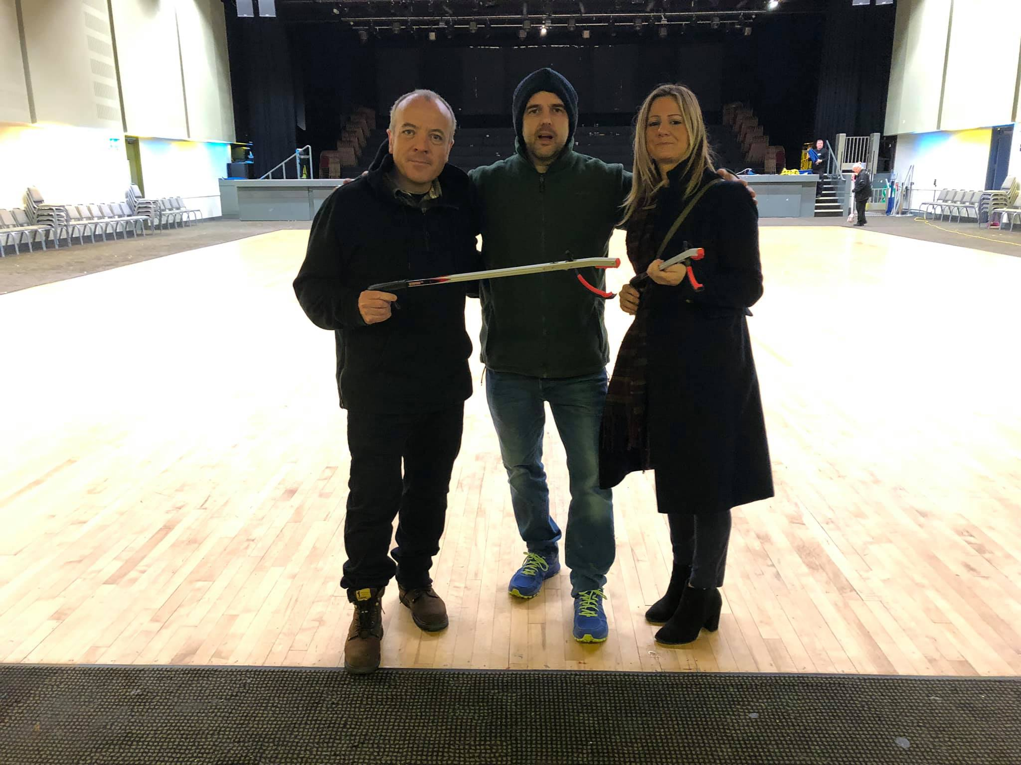 From left to right:  Cllr Mike Kane, John-Paul Coe and Carly from Helping Hands Environmental, met November 2019, to discuss ways to support the project and the exhibition of the mapping project outcomes at Wythenshawe Forum's event hall.